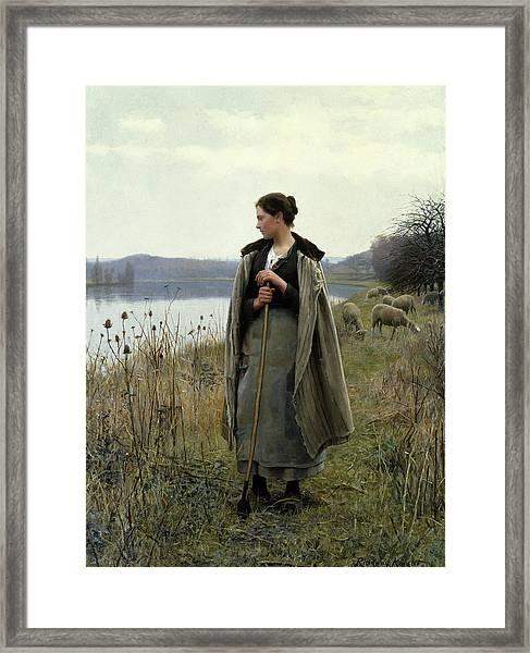 The Shepherdess Of Rolleboise Framed Print