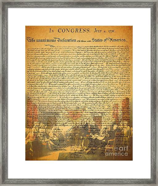 Framed Print featuring the photograph The Signing Of The United States Declaration Of Independence by Wingsdomain Art and Photography