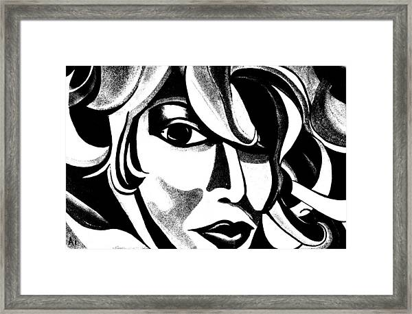 Black And White Abstract Woman Face Art Framed Print