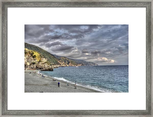 The Small Beach At Monterosso Al Mare Framed Print