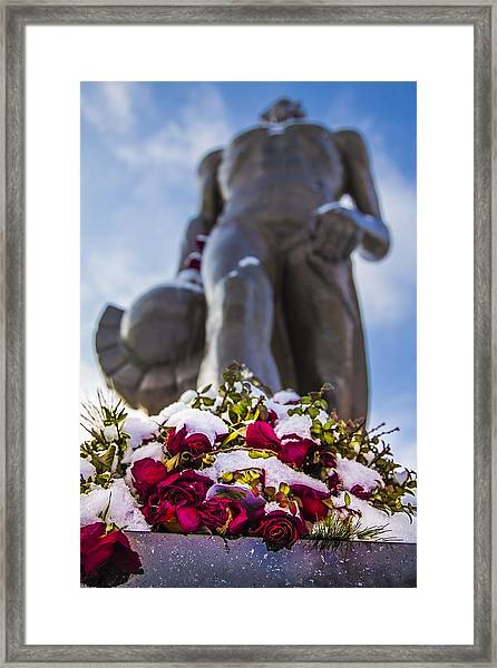 The Spartan With Roses 2 Framed Print