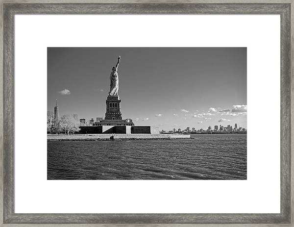 Statue Of Liberty And Freedom Tower Framed Print