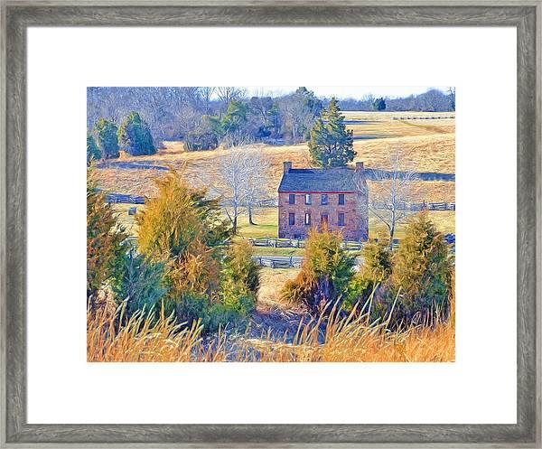 The Stone House / Manassas National Battlefield Park In Winter Framed Print