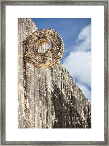 The Stone Ring At The Great Mayan Ball Court Of Chichen Itza Framed Print