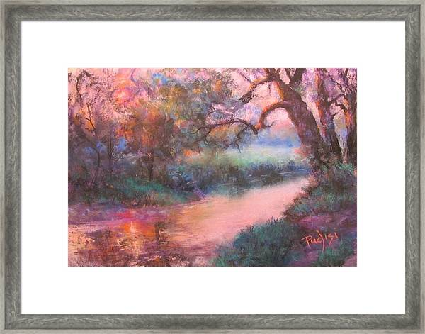 The Sun Going Down On Cocalico Creek Framed Print