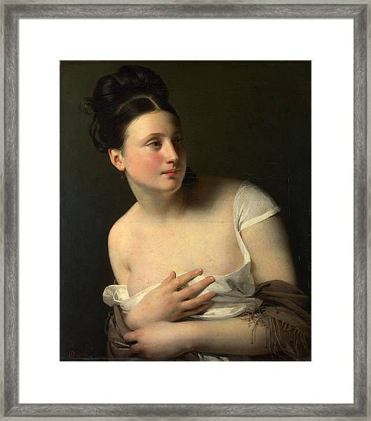Framed Print featuring the painting The Surprise by Claude-Marie Dubufe