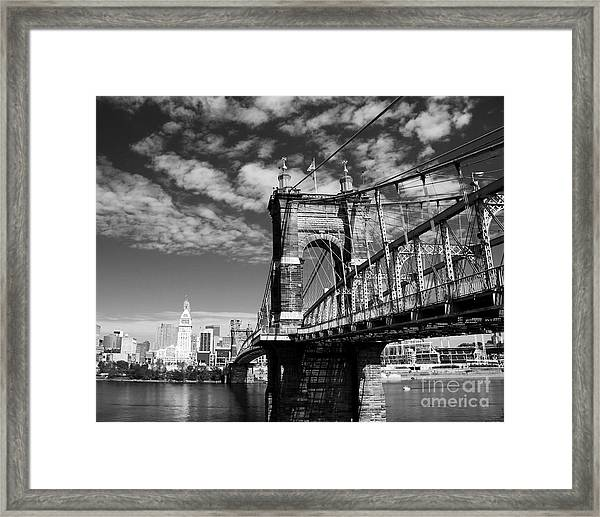 Framed Print featuring the photograph The Suspension Bridge Bw by Mel Steinhauer