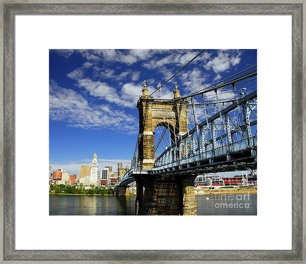 Framed Print featuring the photograph The Suspension Bridge by Mel Steinhauer