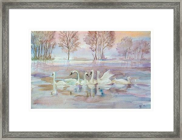 Framed Print featuring the painting The Swan Lake by Katerina Kovatcheva