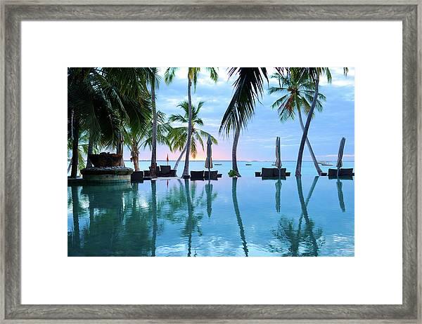 The Swimming Pool Of Summer Resort Framed Print