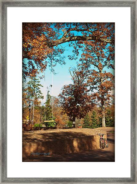 The Swing With Red Bicycle - Davidson College Framed Print