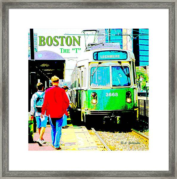 The T Trolley Boston Massachusetts Framed Print