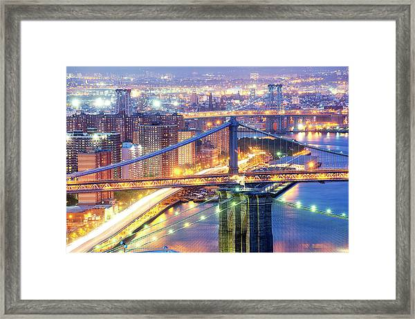 The Three Bridges Of New York City Framed Print