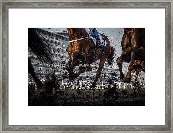 The Thunder Of The Hooves Framed Print by Sharon Lee Chapman