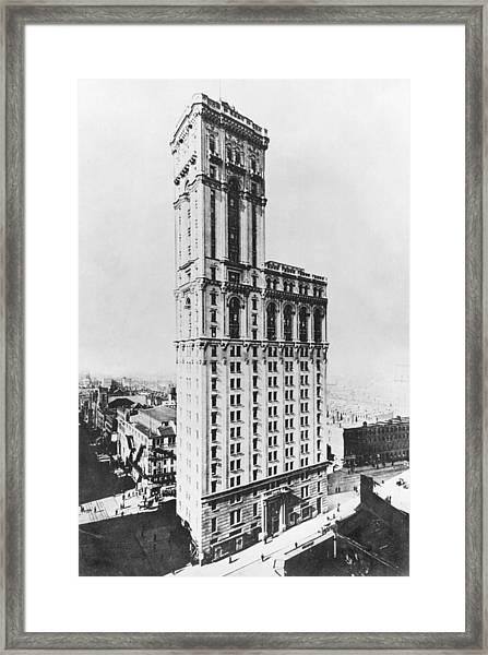 The Times Building, New York, C.1900 Bw Photo Framed Print