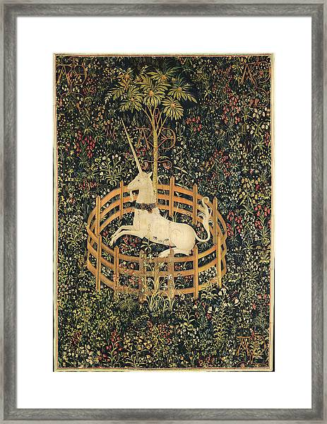 Framed Print featuring the tapestry - textile The Unicorn In Captivity by Unknown
