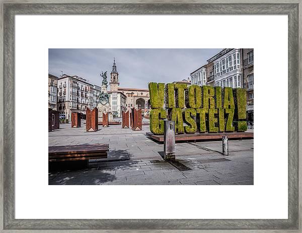 The Vertical Garden In Vitoria-gasteiz Framed Print by Salima Senyavskaya
