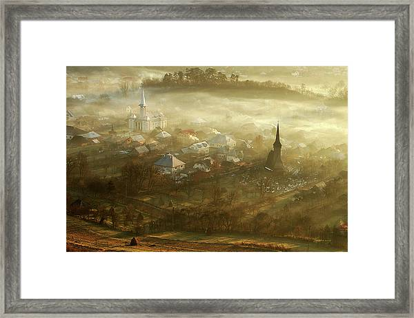 The Village Born From Fog... Framed Print by