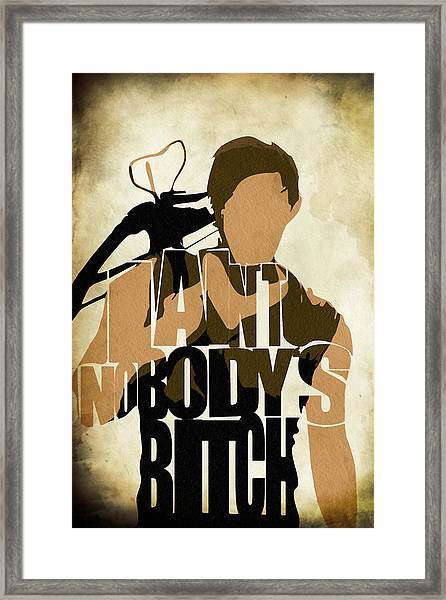 The Walking Dead Inspired Daryl Dixon Typographic Artwork Framed Print