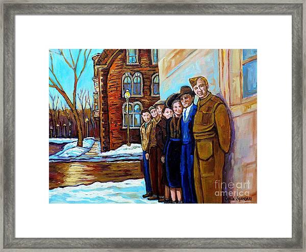 The War Years 1942 Montreal St Mathieu And De Maisonneuve Street Scene Canadian Art Carole Spandau Framed Print