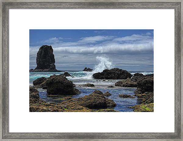 The Waves At Haystack Rock Framed Print