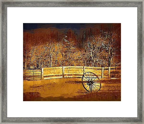 The Wheel And The Fence Framed Print