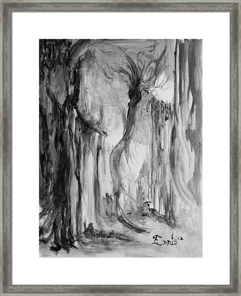 The Wind Walker And The Scarecrow Framed Print