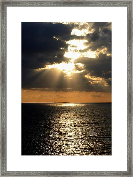 Framed Print featuring the photograph Key West Sunset The Word by Bob Slitzan