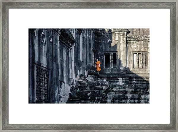 The Young Monk Framed Print by Gloria Salgado Gispert