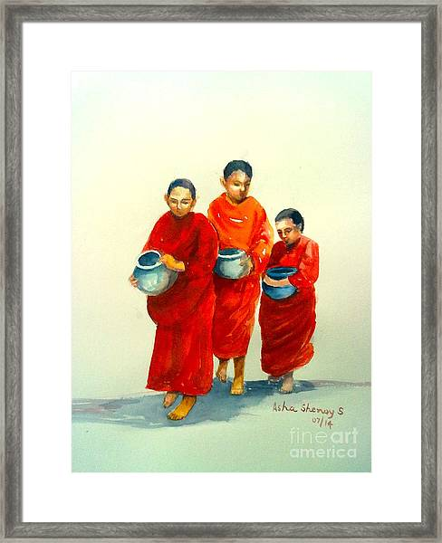 The Young Monks Framed Print