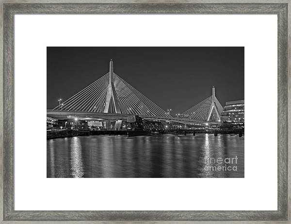Framed Print featuring the photograph The Zakim Bridge Bw by Susan Candelario