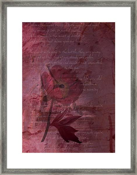 They Shall Grow Not Old Framed Print