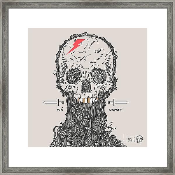 Thin Line Skull Label. Retro Vector Framed Print