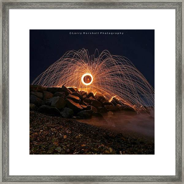 This Is A Shot Of Me Spinning Burning Framed Print