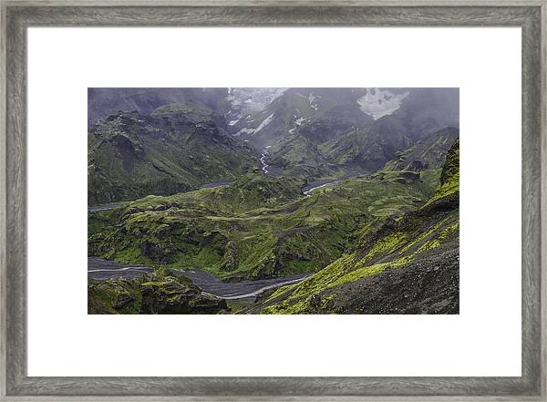Thorsmork Toward Myrdalsjokull Framed Print