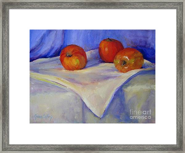 Three Apples With Blue And White Framed Print