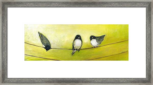 Three Birds On A Wire No 2 Framed Print