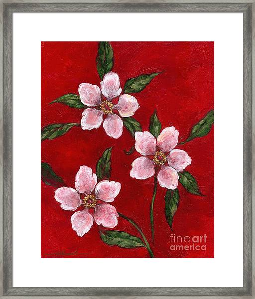 Three Blossoms On Red Framed Print
