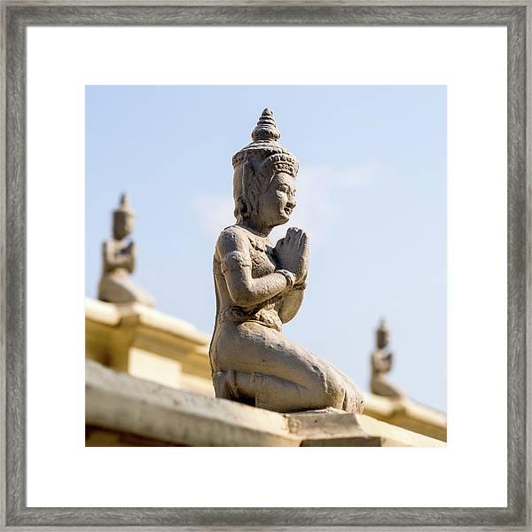 Three Buddha Statues,silver Pagoda Framed Print