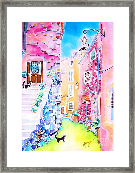 Three Cats In The Alley Framed Print