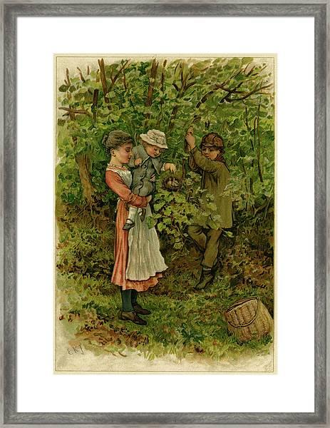 Three Children Marvel At A Nest Framed Print