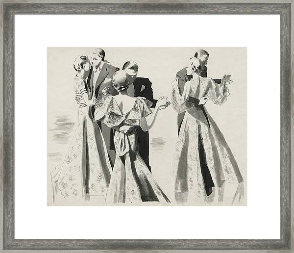 Three Couples Dancing Framed Print by Pierre Mourgue