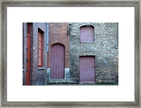 Three Doors And Two Windows Bruges, Belgium Framed Print