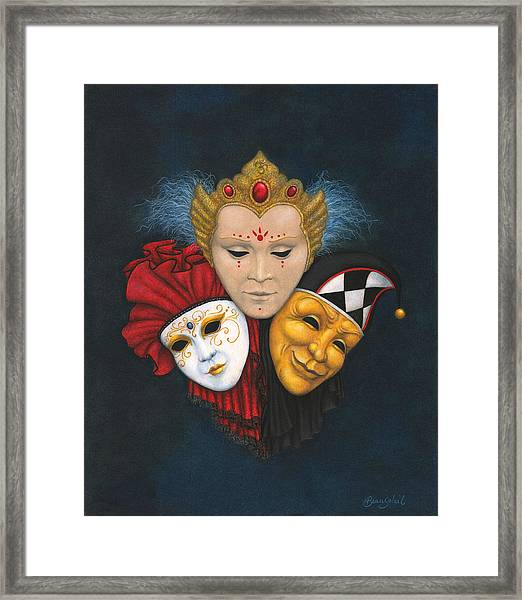 Three Faces Of Carnevale Framed Print