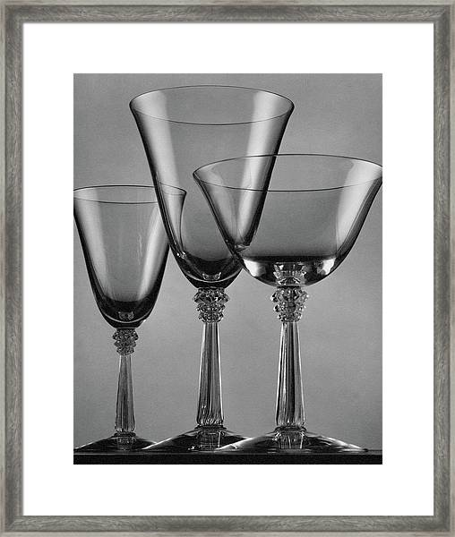 Three Glasses By Fostoria Framed Print