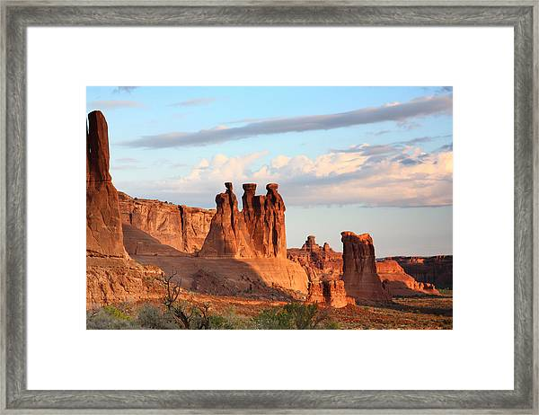 Three Gossips In Arches National Park Framed Print
