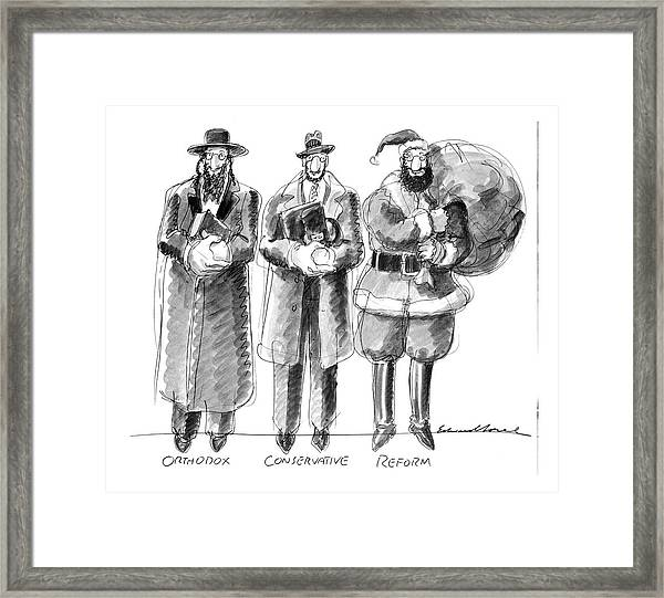 Three Jews Are Standing In A Line Framed Print