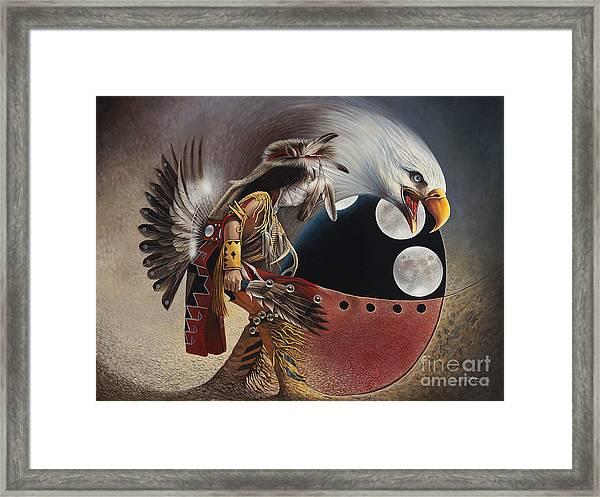 Three Moon Eagle Framed Print