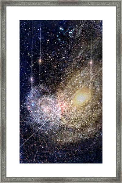 Three Of Wands/stars - Artwork For The Science Tarot Framed Print