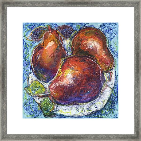 Three Pears On A White Plate Framed Print